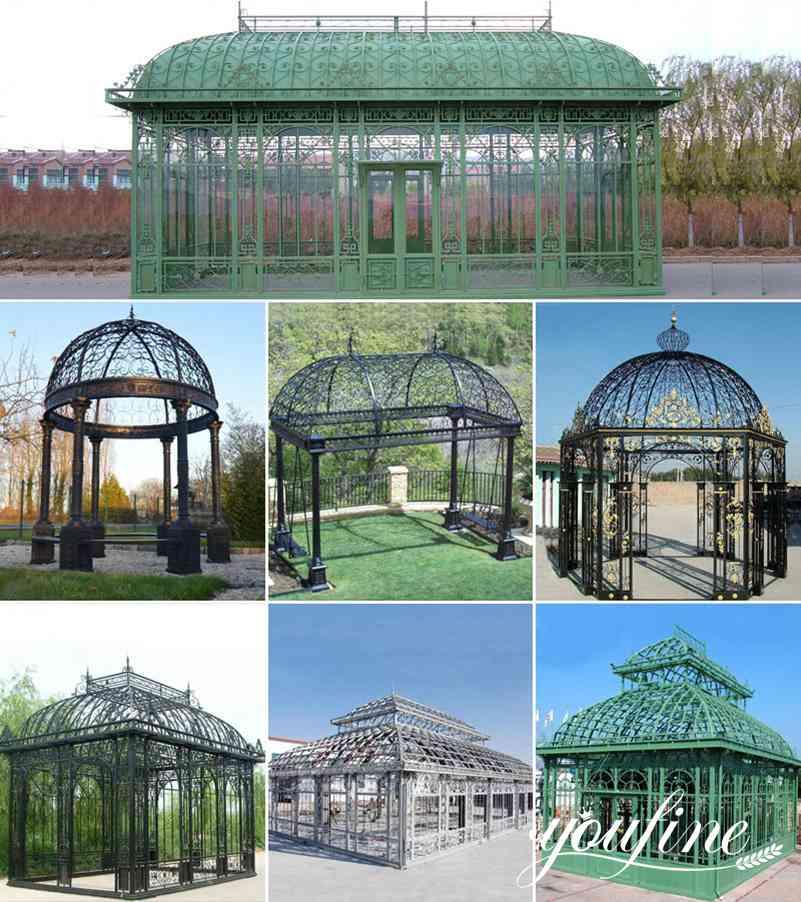 garden wrought iron gazebo with glass for outdoor decor