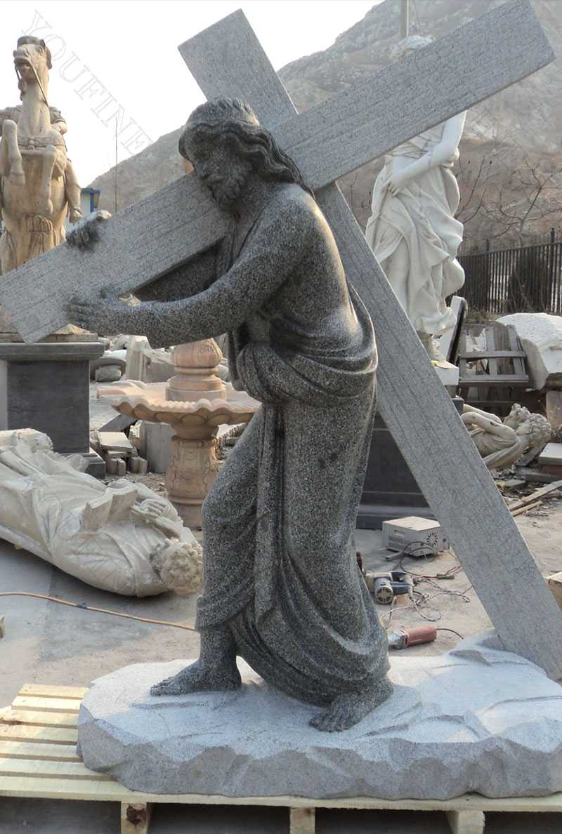 granite Jesus carrying cross statue for sale