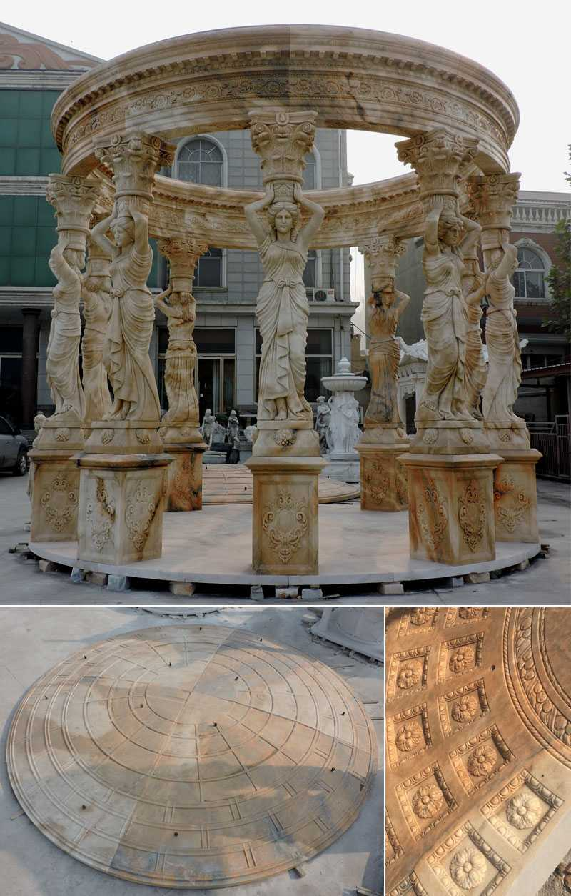 high quality yellow marble garden gazebo with maidens statues for backyard&wedding ceremony decor for sales