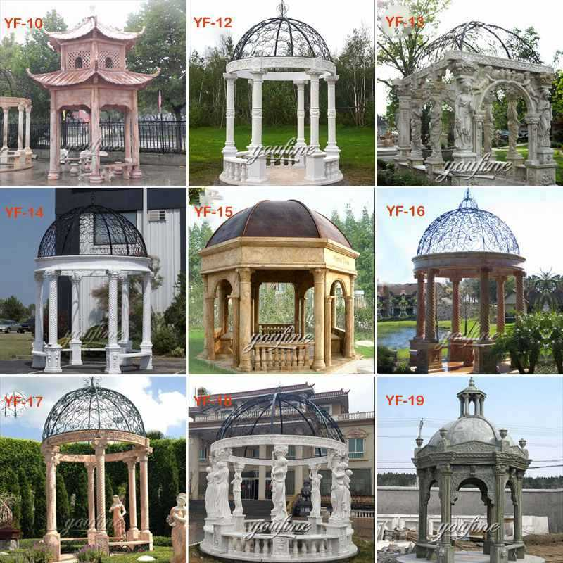 high quality yellow marble garden gazebo with maidens statues