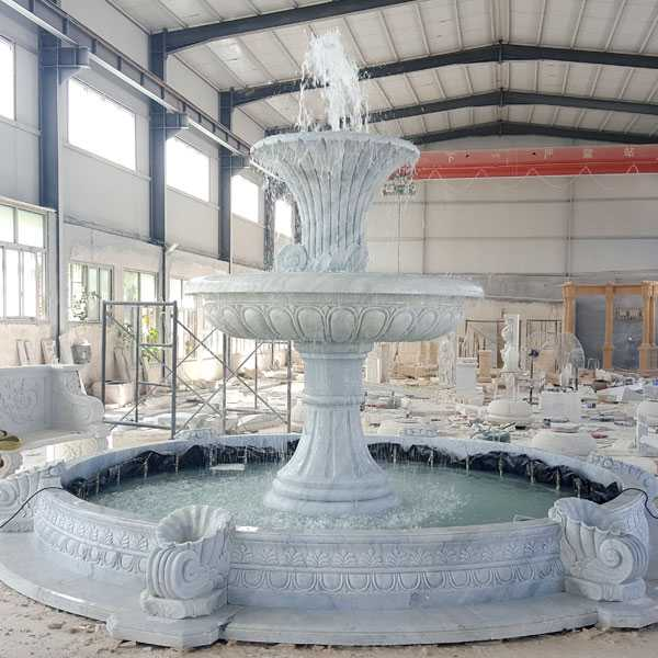 Hot Selling Hand Carved Two Tiered Life Size Pure White Marble Fountain for Garden Decor for Sale–MOKK-07
