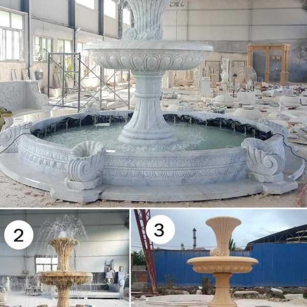 hot selling two tiered cheap life size pure white marble fountain for garden decor for sale