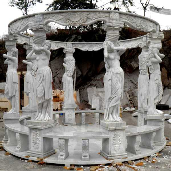 life size cheap outdoor garden white marble patio gazebo with beach designs for sale MOKK-34