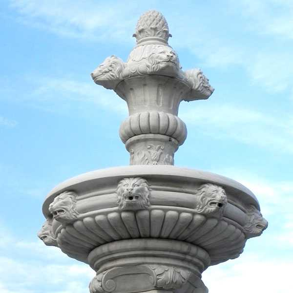 life size cheap two tiered garden pure white marble fountain with lion and figure statue for sales