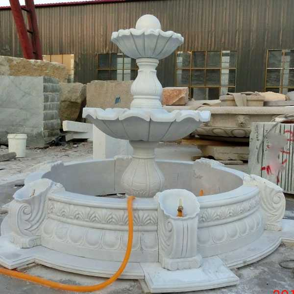 life size hand carved outdoor garden decor two tiered marble fountain for sale