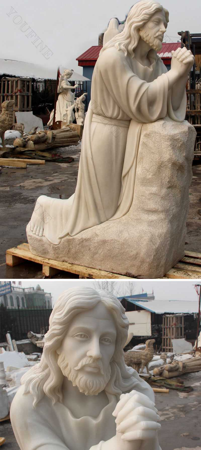 life size outdoor catholic statue kneeling in prayer jesus statue for sales