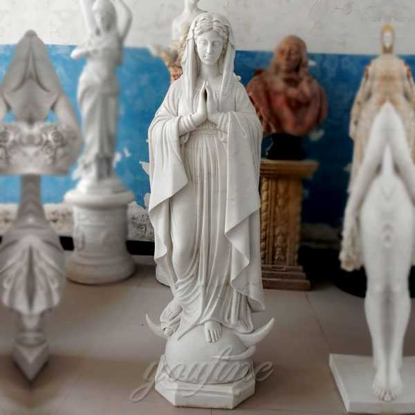 outdoor decor religious sculpture life size praying our lady of Mary statue for garden & church decor