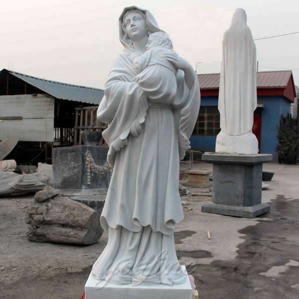 Outdoor White Marble Catholic Statues Our Lady of Grace Statue Mary with Jesus Statue for Sale CHS-279