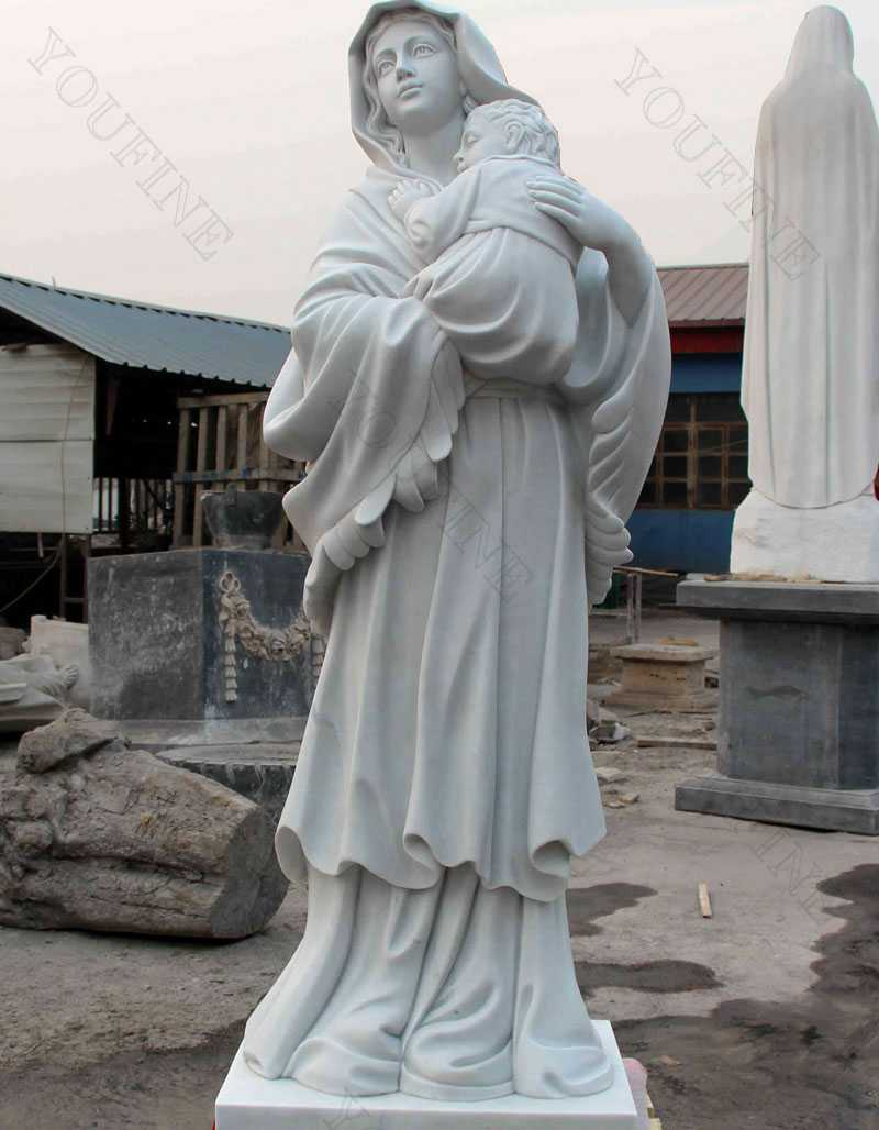 outdoor high quality white marble catholic statues our lady of grace statue Mary with Jesus statue for sales