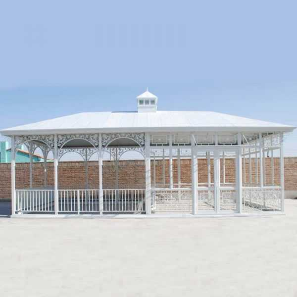 White large custom made outdoor wrought iron gazebo for wedding ceremony for sale–IOK-90