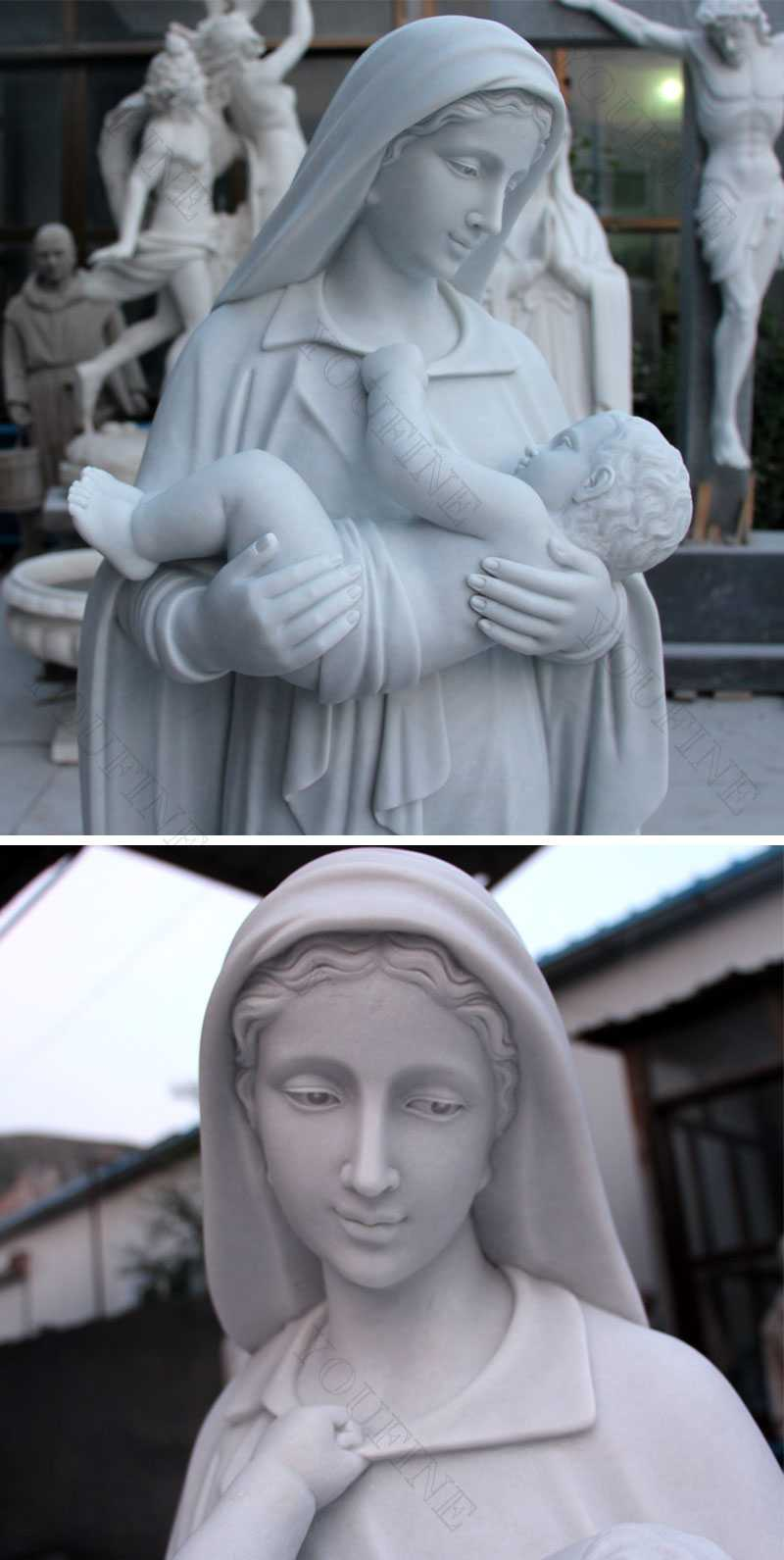 white marble outdoor catholic church statue our lady of mary with baby jesus statue for sales