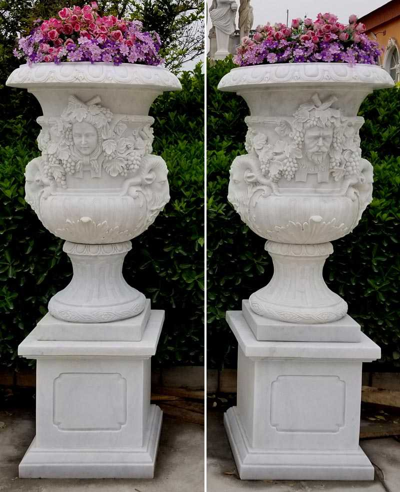 2018 High Quality White Marble Planters with Figure for Garden Decor on Sale
