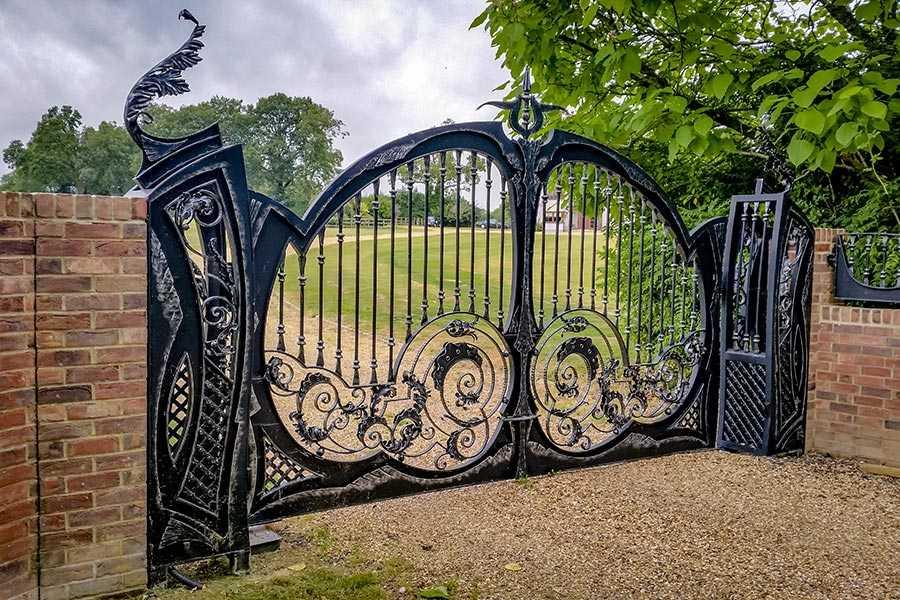 Antique Beautiful Wrought Iron Double Swing Garden Gates