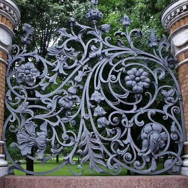 Buy luxury metal flower decorative wrought iron fence style for sale from iron factory–IOK-135