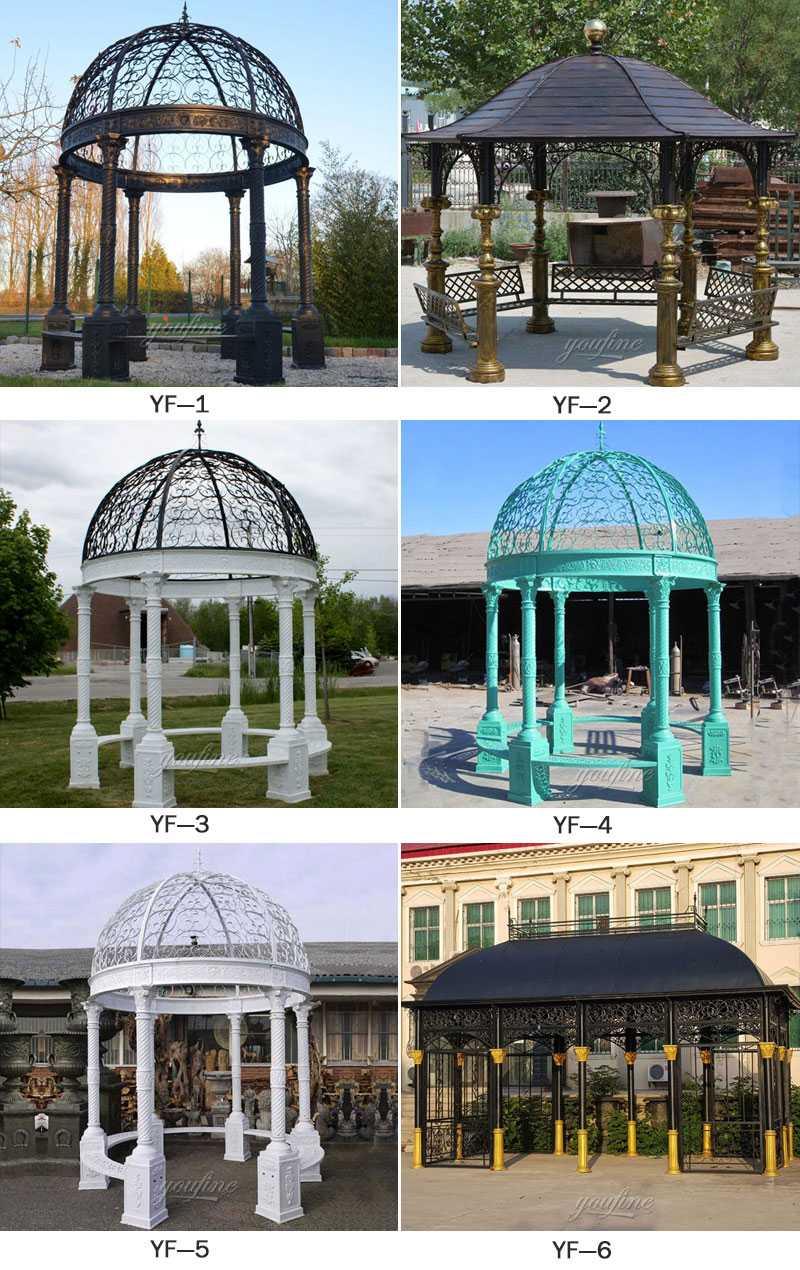 Buy outdoor metal art antique cast iron gazebo for wedding designs for sales