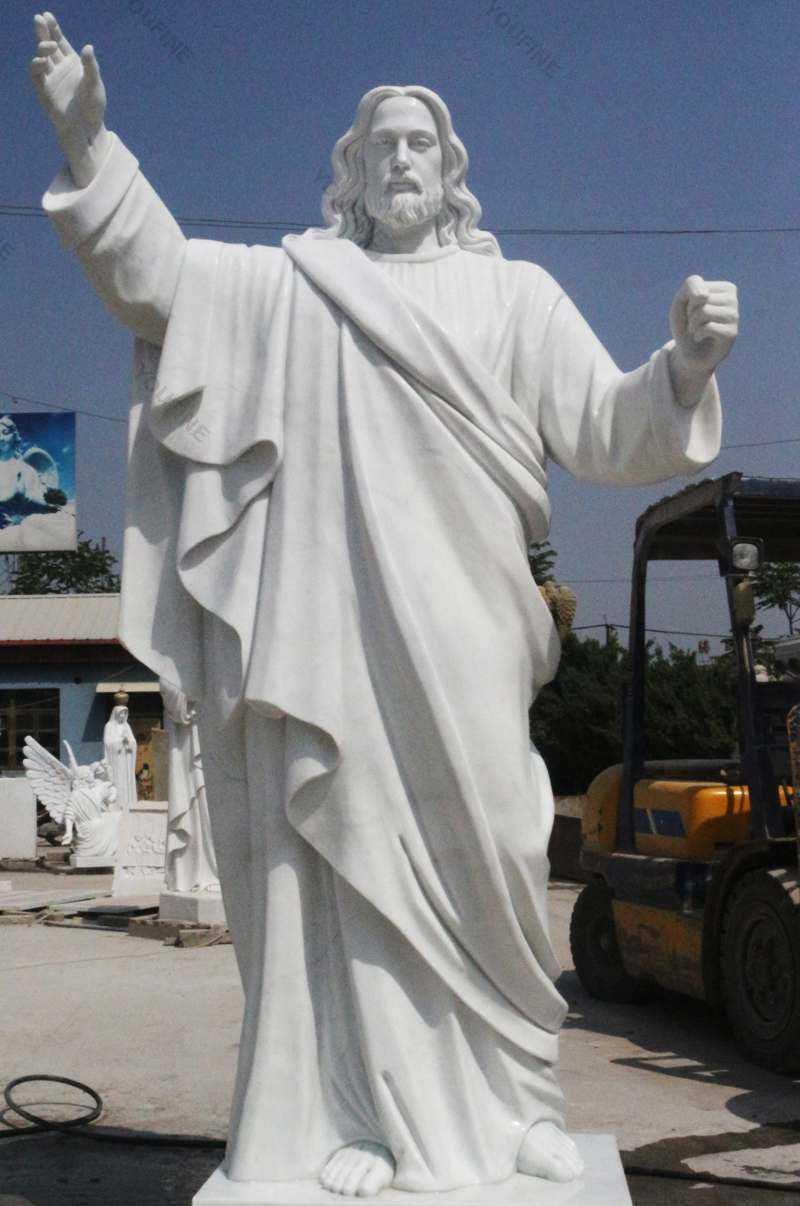 Catholic White Marble Church Statues of Christ Jesus Making for Parish Ceremony