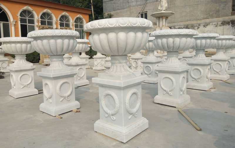 Cheap White Marble Outdoor Flower Pots On Stock For Garden Decor For Sale