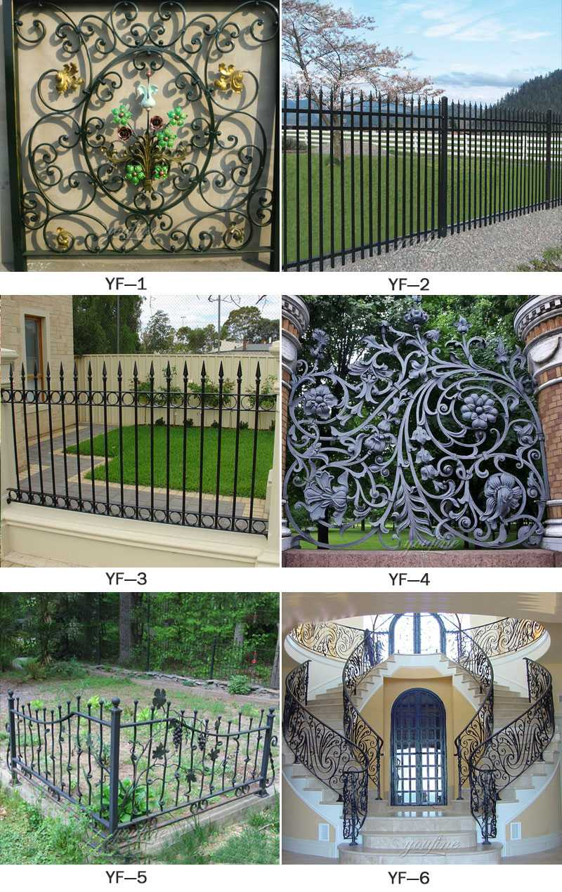 Cheap high wrought iron ornamental metal fencing panels idea for sale from iron manufacturers