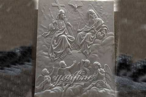 Church interior wall decor Holy Trinity marble relief sculpture made from a image design