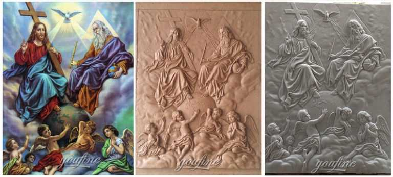 Church interior wall decor Holy Trinity marble relief sculpture made from a image process
