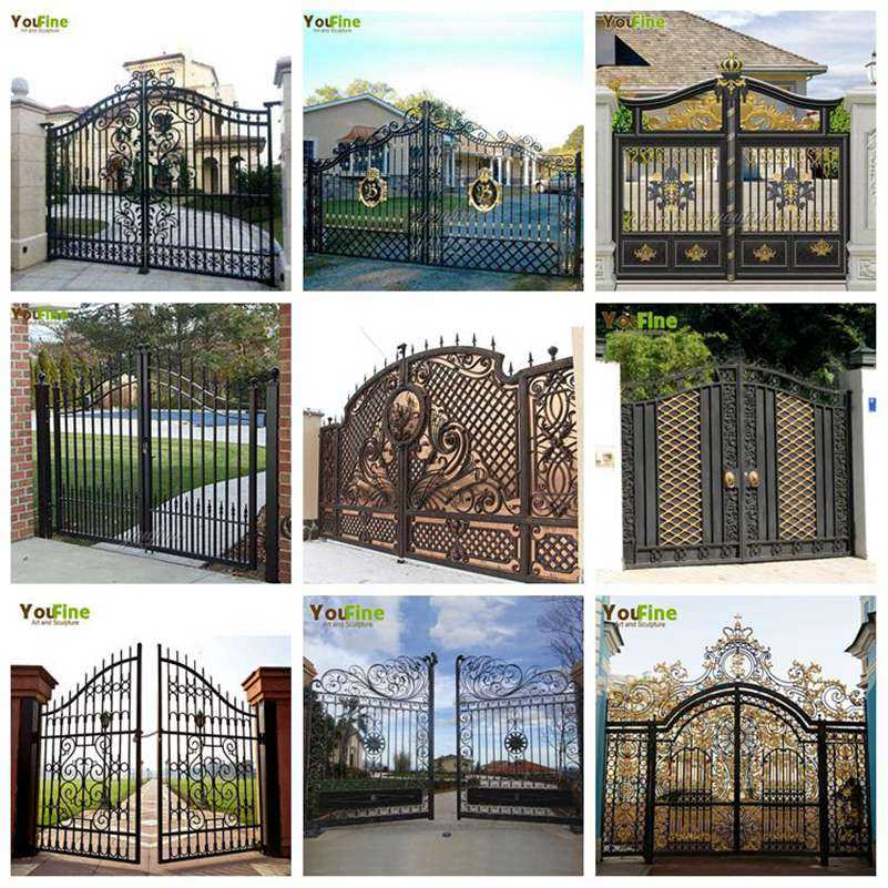Contemporary High Quality Double Driveways Wrought Iron Front Door Entry Gate for Sale
