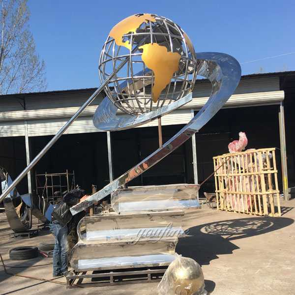Contemporary Large Polished Stainless Steel Globe Sculpture with Books Designs for Square Decor for Sale CSS-06