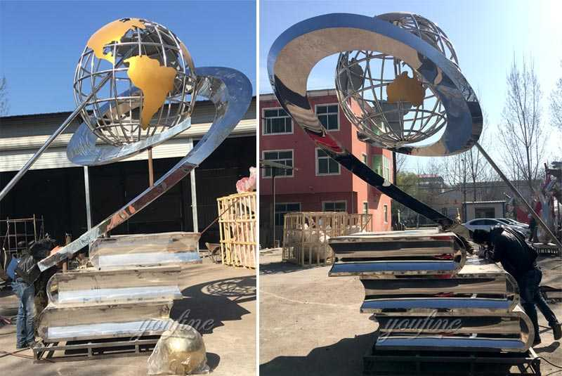 Contemporary life size mirror polished gorgeous stainless steel globe sculpture with books designs for square decoration for sale