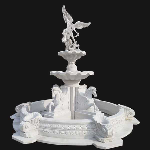 Custom Made Tiered Outdoor Pure White Marble Fountain With Saint Micheal and Horse Statues for Sale