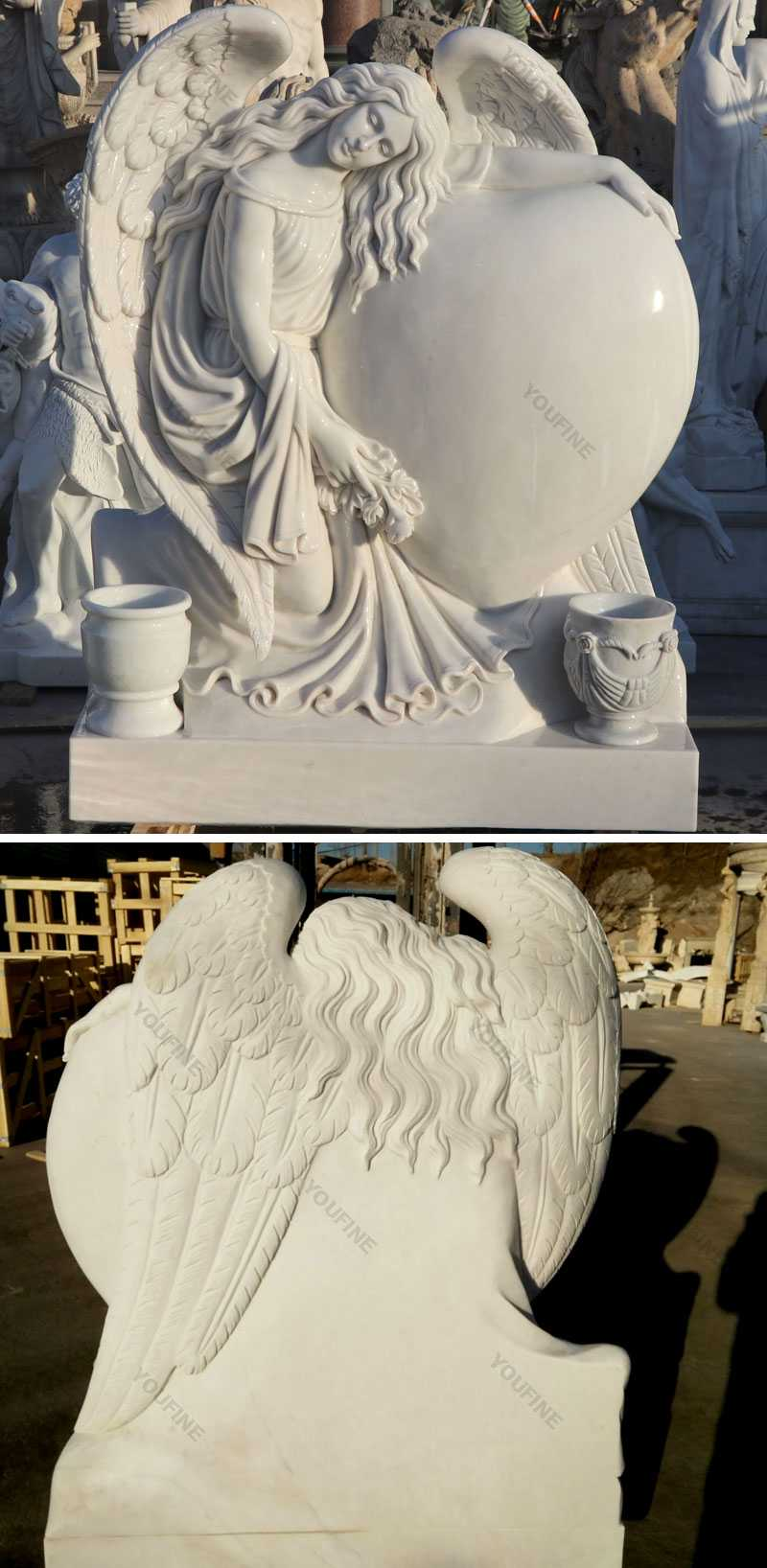 Details of grief angel with heart marble headstone monuments designs for sale
