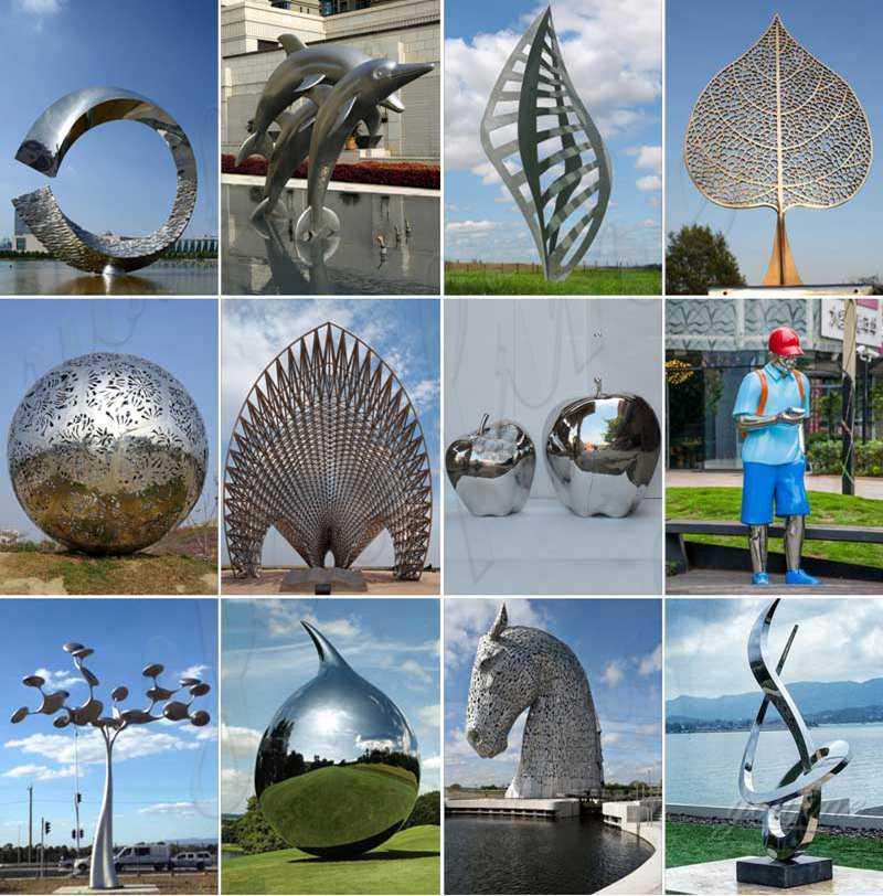 Garden Stainless Steel Sculpture Mirror Apples Designs