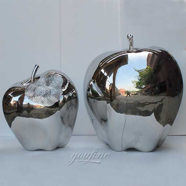 Garden stainless steel sculpture mirror apples designs for our american friend