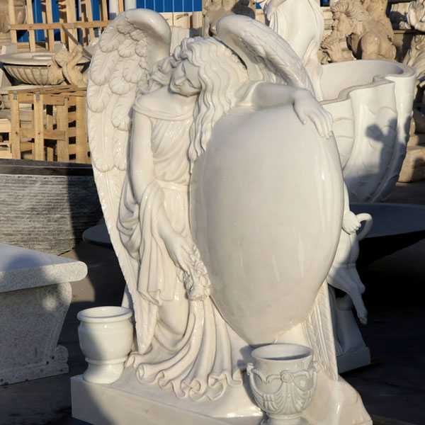 Grief angel with heart marble gravestone monuments designs for sale