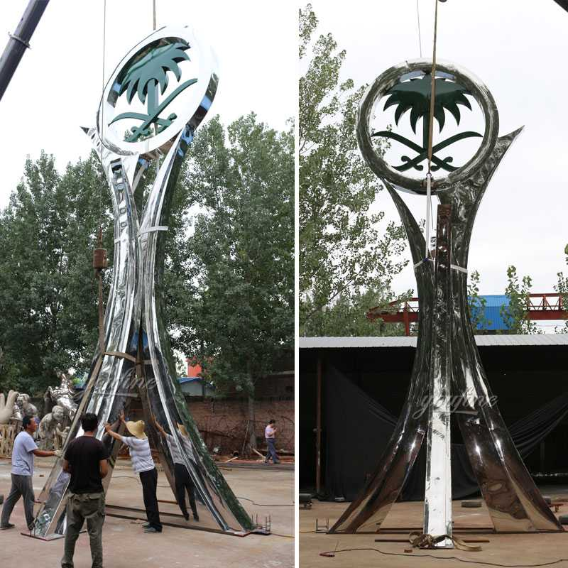High polished mirror metal art sculpture Saudi Arabia sculpture designs for roundabout decor