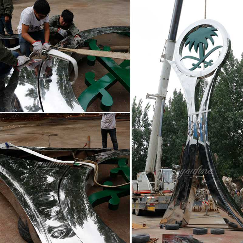 High polished mirror metal art sculpture Saudi Arabia sculpture designs for roundabouts decoration
