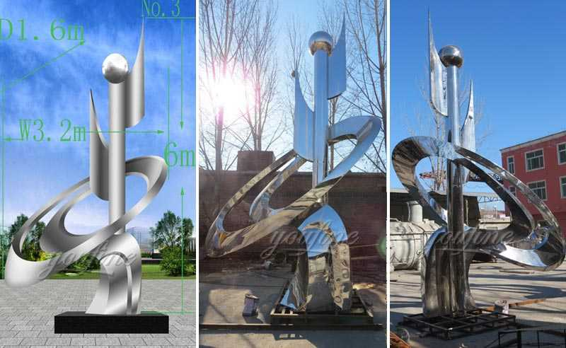 High polished mirror outdoor large modern metal sculptures for our Saudi Arabia customer