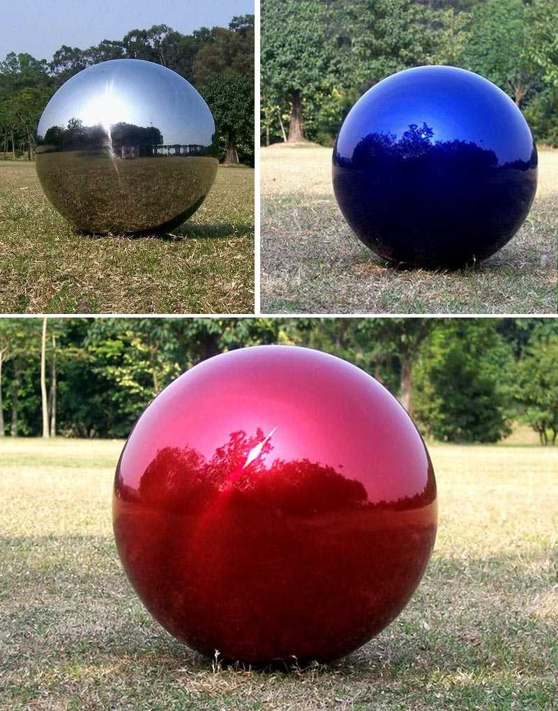 High polished outdoor garden modern metal art ball designs with different color for sales
