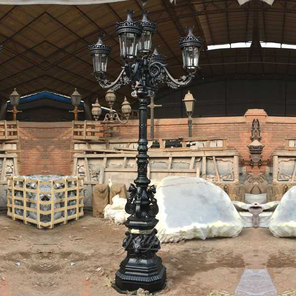 High quality luxury black cast iron lamp post designs manufacturers for garden decor--IOK-140