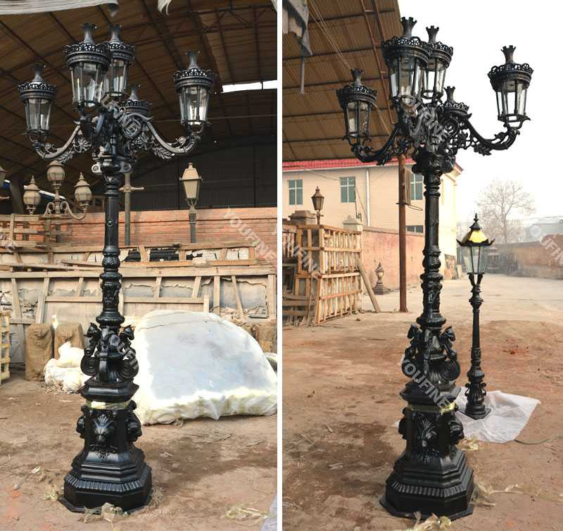High quality luxury black cast iron lamp post designs manufacturers for garden decoration