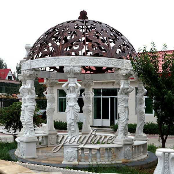 High Quality Outdoor White Marble Pergola with Maidens Gazebo Design for Yard Decor MOKK-83