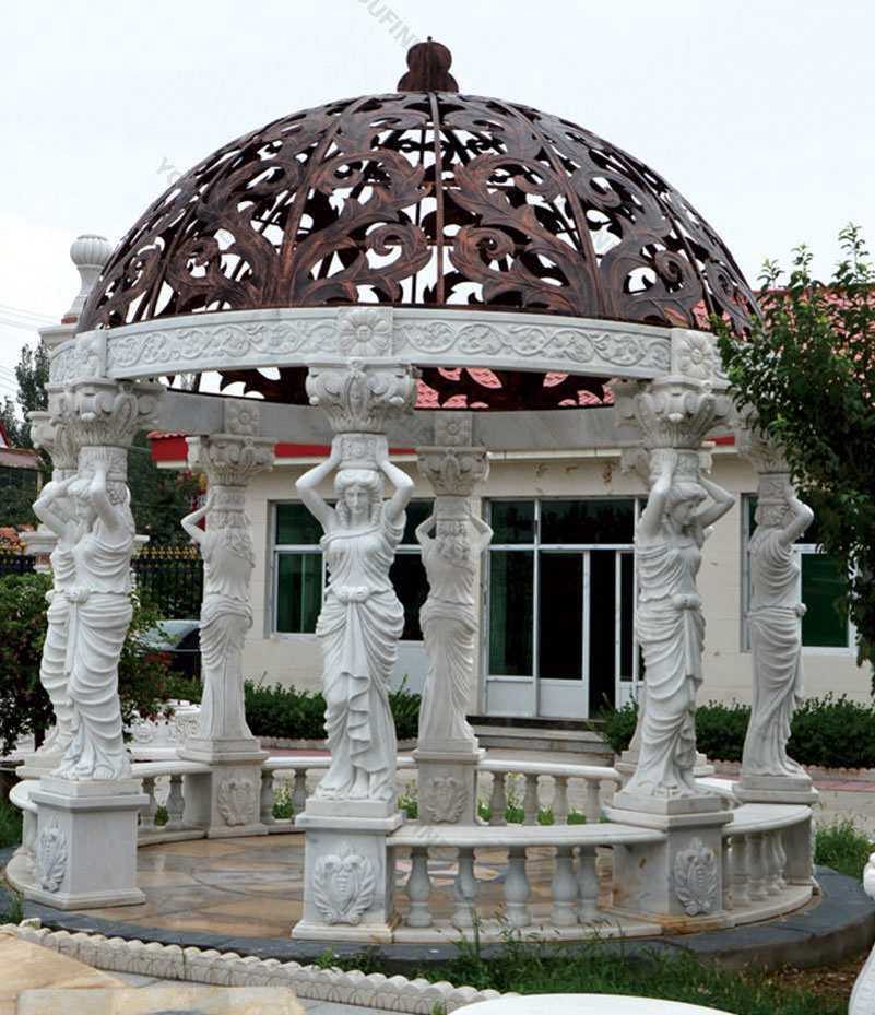 High-quality-outdoor-white-marble-pergola-with-maidens-gazebo-designs-for-yard-decor