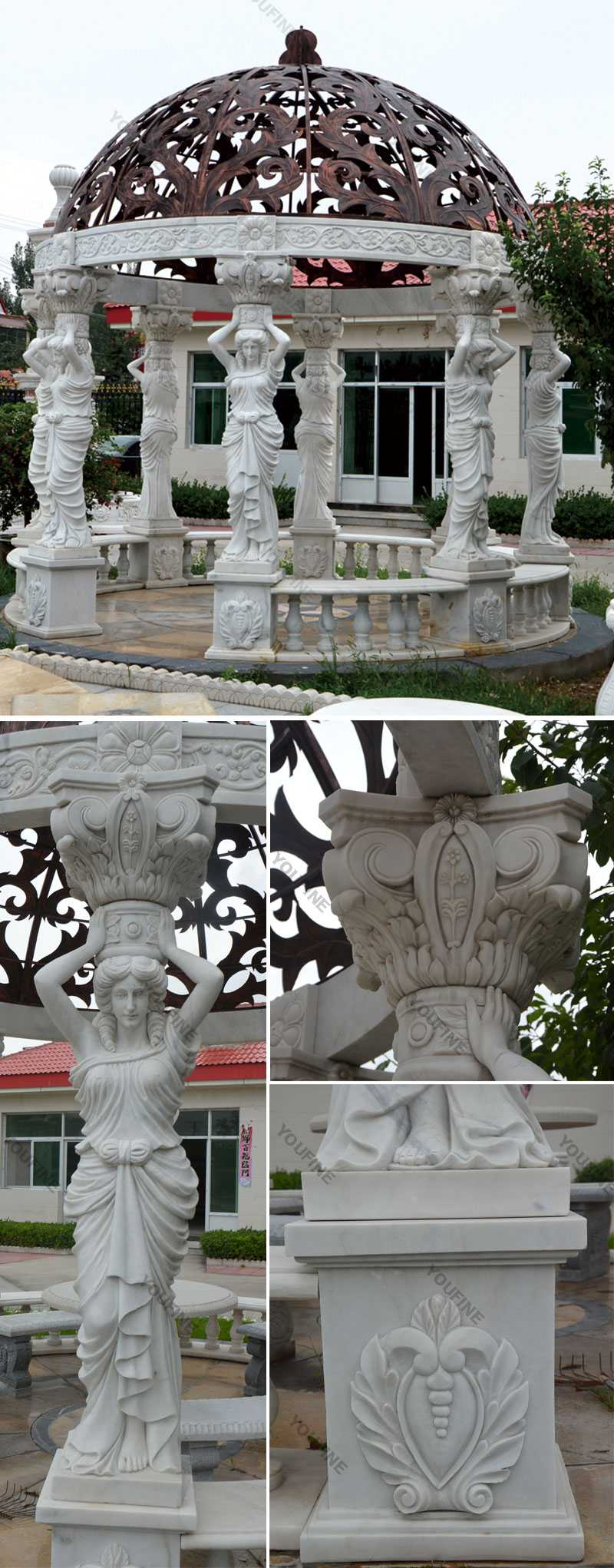 High quality outdoor white marble pergola with maidens gazebo designs for yard decor