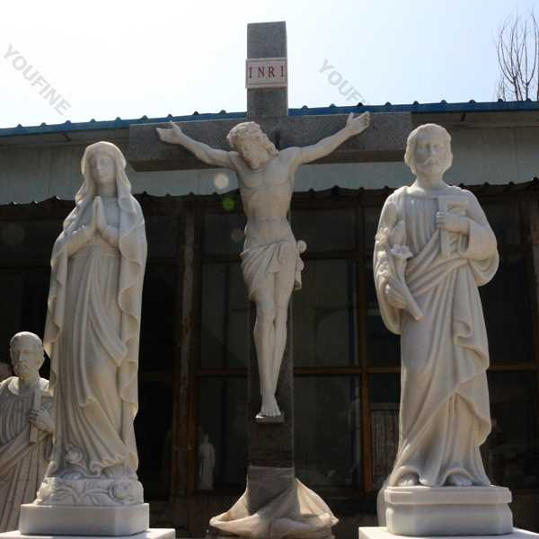Holy family outdoor statues made of white marble for catholic church using