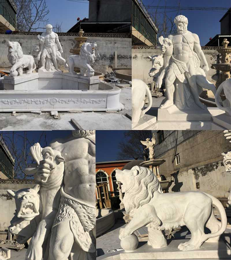 Large marble Hercules fountain details