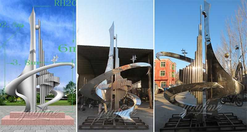 Large modern high quality mirror high polished abstract metal art outdoor stainless steel sculptures for sale
