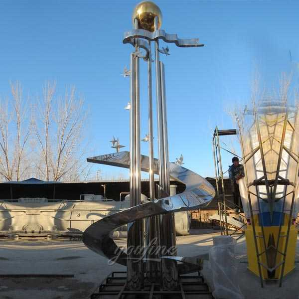 Large outdoor mirror high polished abstract stainless steel roundabout sculptures designs for sale