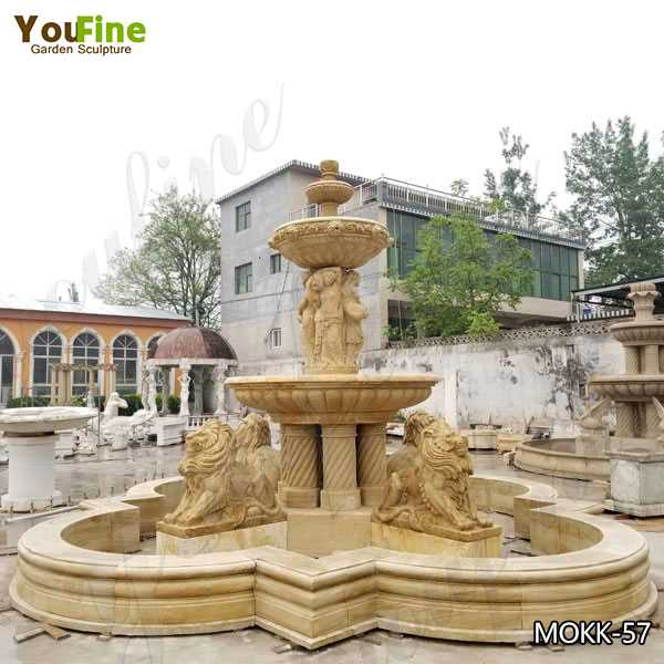 Life Size Yellow Antique Marble Tiered Water Fountain With Lion And Figure Statues