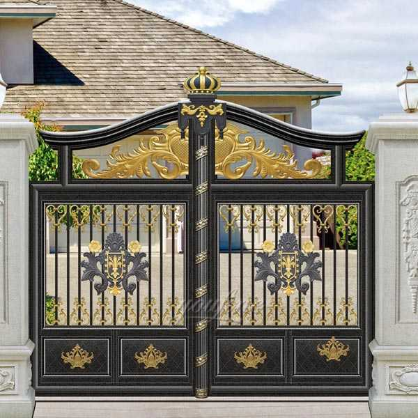 Modern beautiful sliding wrought driveway iron gate design for sale