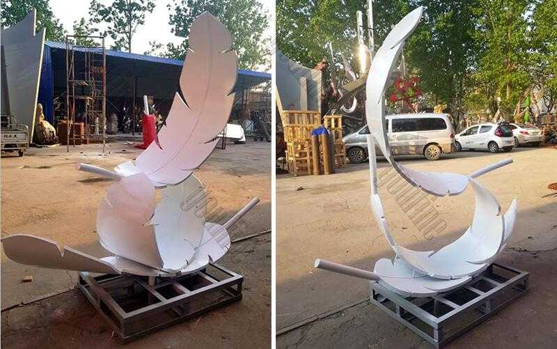 Modern feather art stainless steel three white feathers sculpture designs for sale manufacturer
