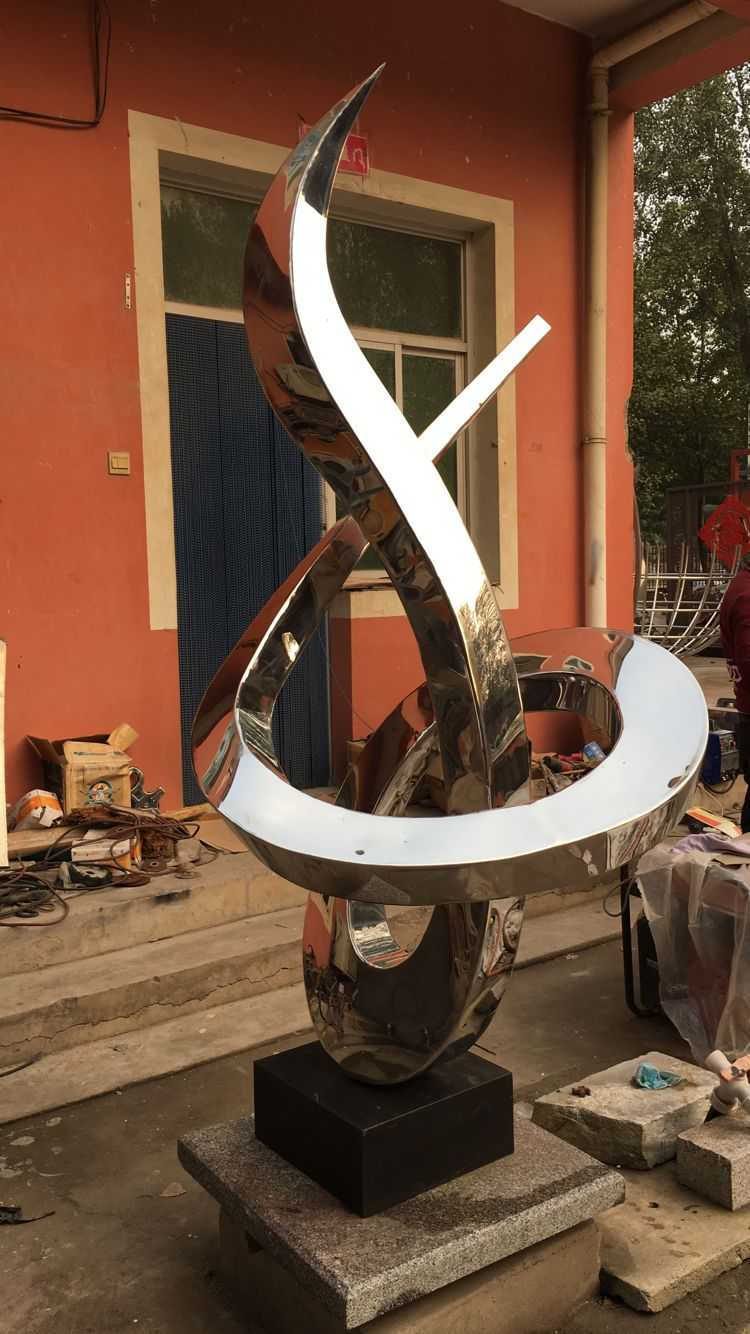 Modern large outdoor stainless steel metal sculpture for sale
