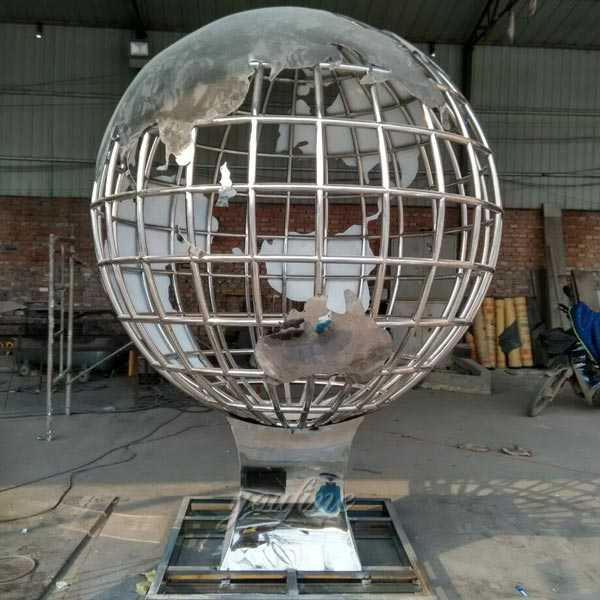 Modern metal art style factory supply stainless steel globe sculpture design for public decor on sale